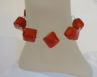 Red Coral Bracelet, Coral Wire Wrapped Bracelet, Chunky Coral Bracelet