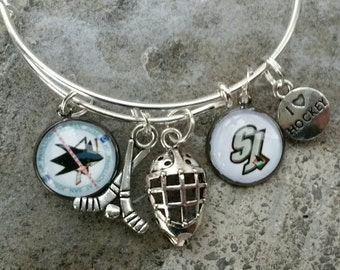 San Jose Sharks Wire bracelet (You'r choice of 2 images)
