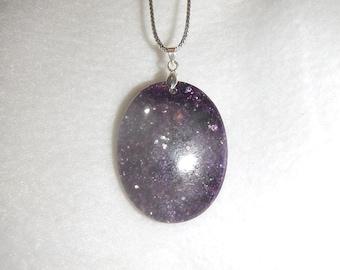 Oval Purple Lepidolite pendant necklace (JO355)