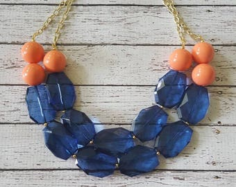Navy Blue and Coral Peach Chunky Statement Bib Necklace...Purchase 3 or more get 10% off