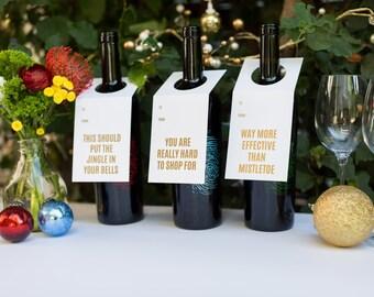 Cadeau amateur de vin. C'est marrant. Vin de fête et esprit Tags - Collection or 3-Pack. Typographie. Feuille.