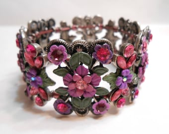 Purple & Green Metal Flower Floral Stretch Bracelet with Purple and Pink and Aurora Borealis Rhinestones