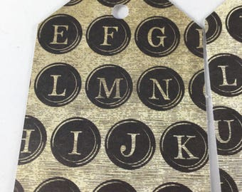 Type Writer Key Tags - set of 7