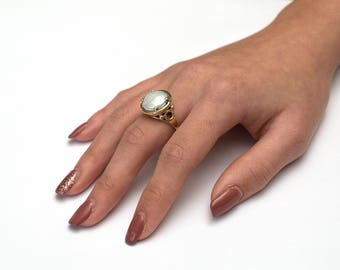 14kt yellow Gold 14mm Coin Pearl Baroque Set Ring