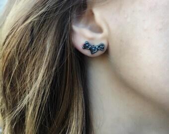 Lucia Stud Earrings, Unique Stud Earrings, Boho Jewelry, Edgy Jewelry, Black Jewelry, Sterling Silver