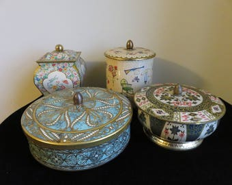 Lot of Four Beautiful Vintage Tin Containers- Tops with Handles/ Pulls/ Knobs- Made in England- Made in Holland- Embossed Designs