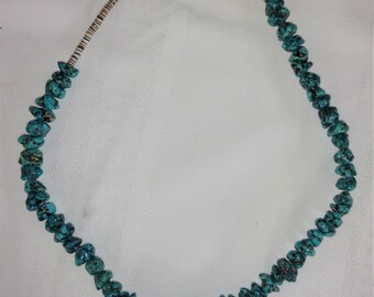 Native American Indian Jewelry Chunky Turquoise Necklace Kingman Turquoise Arizona