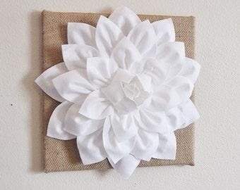 "Wall Flower -White Dahlia on Burlap 12 x12"" Canvas Wall Art- 3D Felt Flower"