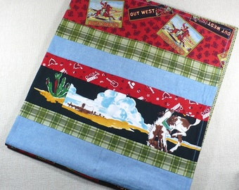 Western Baby Blanket, Patchwork blanket, 36x40 inches, Western fabrics, vintage fabrics, Toddler blanket
