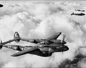 Poster, Many Sizes Available; Lockheed P-38J-10-Lo Lightning 383D Fighter Squadron 1944