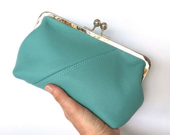 Audrey Clutch in Turquoise Italian Bovine Leather