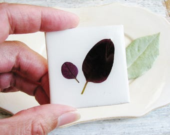 Purple Leaf Magnet, Floral Magnet, Pressed Leaf Magnet