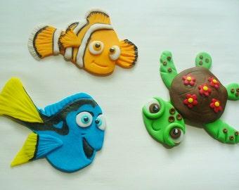"2D NEMO DORY SQUIRT Edible Fondant ""Flat"" Cake/Cupcake Topper Decorations"