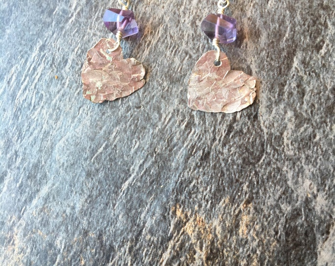 Amethyst and Hammered Sterling Silver Heart Earrings Love Gift Special February Birthstone