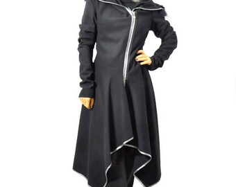 Black wool coat/Wool cashmere blend/Asymmetrical wool coat/Zipper coat/Wool jacket/Blazer/Woman long coat/Hooded coat/Hooded coat/C1315