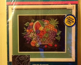 Fruit Basket.     Sunset no count cross stitch