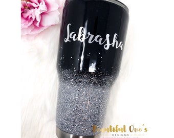Glitter Ombre Tumblers/ Ombre Glitter Tumblers/ Black Glitter Yeti/ Glitter Cups/ Black Glitter Tumbler/ Glitter Stainless Steel Tumblers