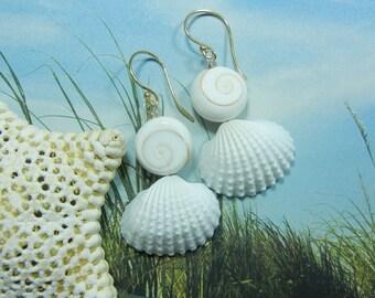 Shiva Eye and Seashell Earrings