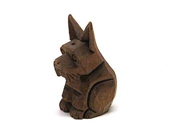 Vintage Carved Scotty Dog, Folk Art, German, Black Forest, Souvenir, c1950