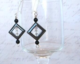 Black Onyx and Hemalyke Diamond Earrings