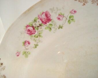Vintage Shabby Platter Pink Roses  Mellor & Co. Vernon Platter Shabby Cottage Chic Antique Vintage
