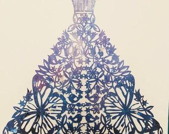 Handcut paper Evening gown