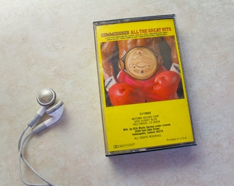 Vintage Cassette Tape . Commodores . All the Great Hits . Cassette from the 1980's