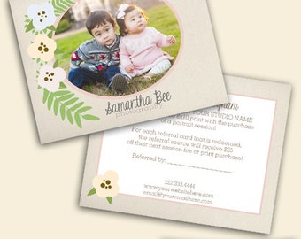Floral Referral Card Template - Photography Template - Photoshop Template - Photography Marketing - Instant Download