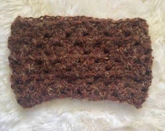 Brown Infinity Scarf, Chunky Infinity Scarf, Brown Cowl, Brown Wool Scarf, Crochet Infinity Scarf, Circle Scarf Knit, Winter Scarf Women