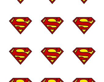 12 x Superman Edible Stand Up Wafer Cake Cupcake Toppers x 12