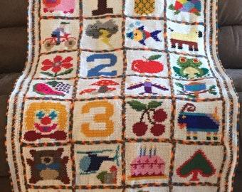Handmade Crochet Child's Playful 1 2 3 Blanket