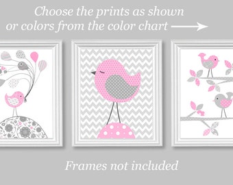 Grey And Pink, Nursery Wall Art, Bird Nursery Decor, Baby Girl Decor,