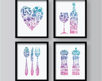Purple Teal Blue Kitchen Decor 4 Set, Kitchen Wall Art, Kitchen Decor  Prints ,