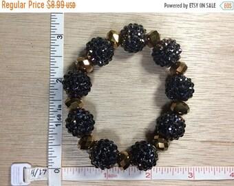 "10%OFF3DAYSALE Vintage 7"" Stretchy Dark Purple Iridescent Gold Beaded Bracelet Used"