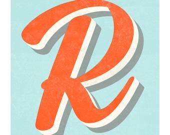 The Letter R, Original Art Print, Typography, Alphabet, Monogram, Red Orange, Blue