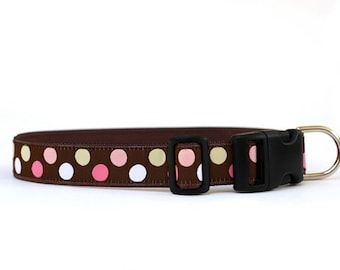 1 Inch Wide Dog Collar with Adjustable Buckle or Martingale in Candy Dots