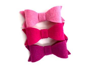 Set of 3 felt hair bows - felt bows, hair bows, bows, hair clips, hair bows for girls, hair clips for girls, baby bows, baby hair clips