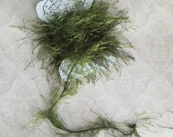 Forest Moss Green Eyelash Yarn Trim Great for Journals Scrapbooking Mixed Media Projects Craft Supplies Gift Tags and Journal Tags
