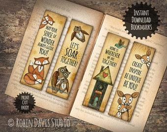 Fox bookmarks, Owl Bookmark, Little Readers Bookmarks, Teacher bookmarks Printable, Unique bookmarks, Woodland bookmarks, RobinDavisStudio