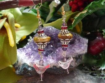 Freshwater pearl earring ,style 1920s earrings , antique vitorian earrings ,drop  earring, antique pearl earring, bird earring, pearl
