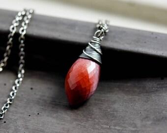 Mookaite Necklace, Jasper Necklace, Mookaite Jasper, Sterling Silver, Dark Red, PoleStar, Burgundy,
