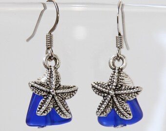 Starfish Earrings, Blue Glass Earrings, Beach Earrings, Cobalt Blue Earrings, Star Fish, Ocean Jewelry, Nautical Jewelry, Sea Glass Jewelry
