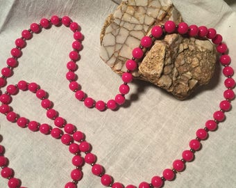 Vintage Dark Pink / Fuschia Colored Beaded Necklace