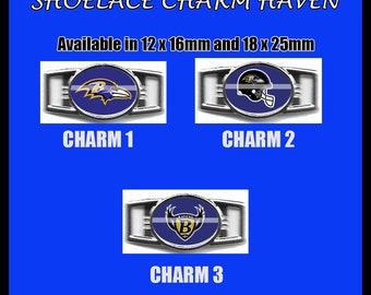 BALTIMORE RAVENS Shoelace Charm  Paracord Bracelet Charm Oval Charm 12 x 16mm or 18 x 25mm Charms