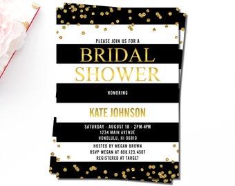 Kate Bridal Shower Invitations, Black White & Gold Bridal Shower Invitation, Wedding 2018, Personalized Printable Invitation, B69