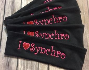 I Hearr Synchro Embroidered Headband, Monogrammed Headband, Personalized Headband, synchronized swimming headband