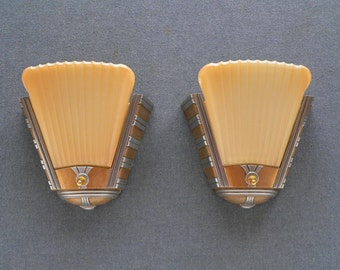 Pair of antique Art Deco  sconce with slip shades