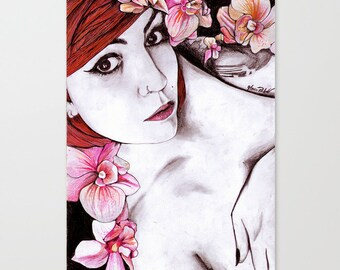 Nude Pencil Drawing, Graphite and Pastel Nude Woman Portrait,Paper, Drawing Small Wall Art Flowers Drawing Floral Art, 33x23 cm- 13x9 in