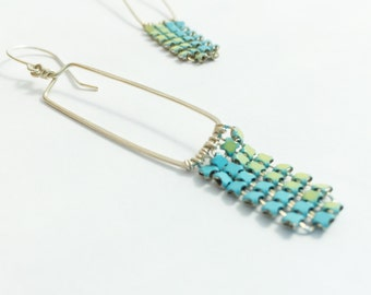Silver Rectangle Earrings with Blue Metal Mesh/ geometric, blue, green, silver,mesh, recycled, long