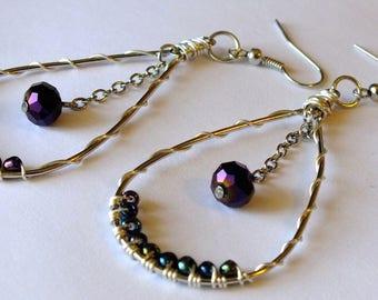 Wire Wrapped Beaded Tear Drop Earrings